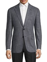 Armani Collezioni Textured Virgin Wool Blend Jacket Grey