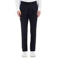 Chalk Striped Flannel Trousers Navy
