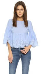 Suno Eyelet Lace Top Blue