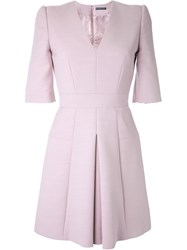 Alexander Mcqueen Box Pleat Mini Dress Pink And Purple