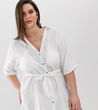 Asos Design Curve Beach Shirt With Tie Waist In Textured Fabric White