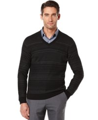 Perry Ellis Striped V Neck Sweater