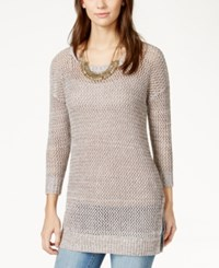 Lucky Brand Marled Open Stitch Pullover Tunic Grey Multi