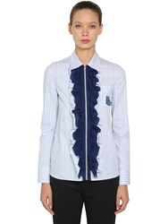 Prada Ruffled Zip Up Striped Cotton Shirt Light Blue