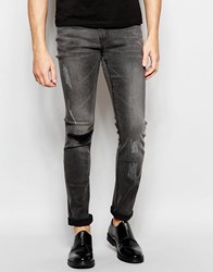 Cheap Monday Jeans Tight Stretch Skinny Fit Meltdown Black Knee Rip And Distressing Meltdown Black