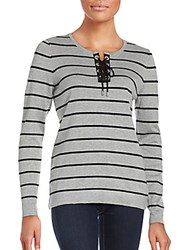 Calvin Klein Lace Up Striped Sweater Grey Black