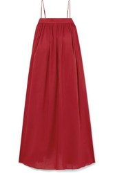 Adam By Adam Lippes Gathered Cotton Voile Midi Dress Claret