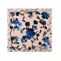 Klements Medium Scarf In Gothic Floral Print Pink Purple