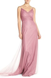 Women's Monique Lhuillier Bridesmaids Surplice Tulle Gown Cerise