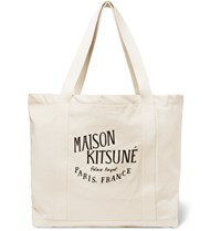 Maison Kitsune Palais Royal Printed Canvas Tote Bag Cream