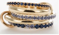 Spinelli Kilcollin 5 Linked Rings In 18K Yellow Gold Yellow Gold Connectors And Pave Blue Sapphires And Tanzanite Approx. 3.2Tcw Multi