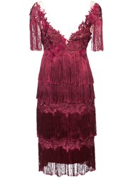 Marchesa Notte Embroidered And Fringed Dress Nylon Polyester