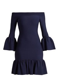 Jonathan Simkhai Off The Shoulder Fluted Hem Knit Dress Blue