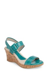 David Tate Women's Newport Wedge Sandal Emerald Leather