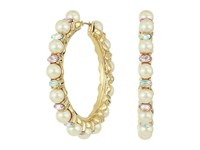 Betsey Johnson Blue By Pearl And Gold Tone Hoop Earrings Pearl Earring White