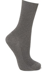Maria La Rosa Metallic Ribbed Knit Socks Anthracite