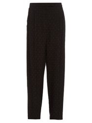 Alexander Mcqueen Fil Coupe Embroidered Crepe Trousers Black