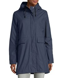 French Connection Hooded Zip Front Raincoat Navy