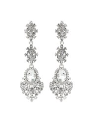 Mikey Rnd Multifilligree Crystal Drop Earrings White
