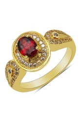 Olivia Leone Oval Garnet And Cz Halo Loop Shoulder Ring Red