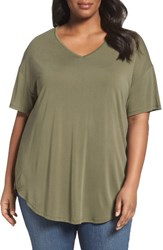 Sejour Plus Size Women's V Neck Tee Olive New