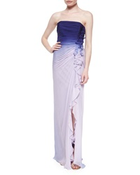 Melinda Eng Strapless Ombre Side Ruffled Gown