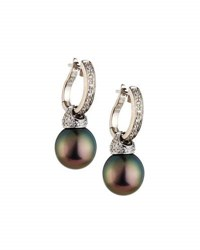 Belpearl 14K Tahitian Pearl And Diamond Hoop Drop Earrings