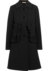 Marni Ruffled Cotton Blend Crepe Coat Black