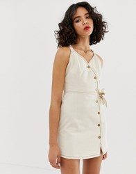 Moon River Cami Dress With Button Detail Cream