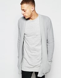Asos Longline Cardigan With Open Shawl Neck Blue Gray