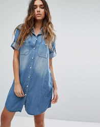 Replay Oversized Denim Shirt Dress 009 Mid Blue