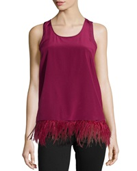 Madison Marcus Feather Trim Tank Wine