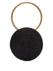 Eliurpi Circle Mini Woven Straw Bag Black