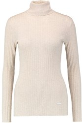 Tory Burch Ribbed Cotton Turtleneck Sweater Cream