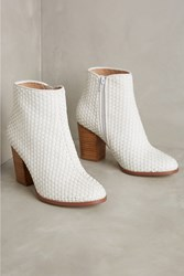 Anthropologie Billy Ella Woven Ankle Boots White
