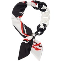 Msgm White And Black Chain Scarf Necklace