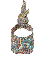Etro Printed Silk Visor Multicolor