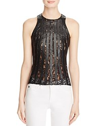 Bailey 44 Faux Leather And Lace Tank Black