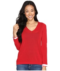 Nydj Petite Twofer Sweater Red Ribbon Women's Clothing