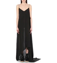 Yang Li Sheer Woven Slip Dress Black