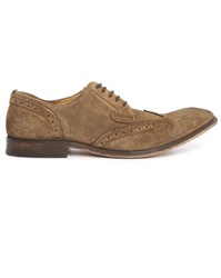 Hudson Rowe Beige Suede Derbies With Taupe Perforated Toe
