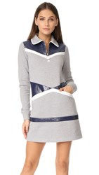 Courreges Sweater Dress Grey White Navy