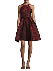 Parker Printed Halter Neck Fit And Flare Dress Ruby Red