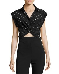 Alexander Wang Collared Knot Front Crop Shirt Black Pattern