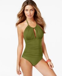 Kenneth Cole Ruched Halter One Piece Swimsuit Women's Swimsuit Olive