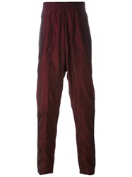 Tony Cohen Metallic Straight Trousers Red