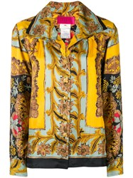 Christian Lacroix Vintage Wide Collar Floral Shirt Yellow And Orange