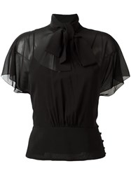 Red Valentino Tied Neck Sheer Blouse Black