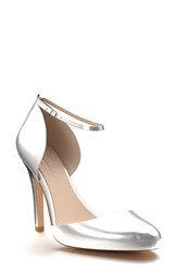 Shoes Of Prey Women's Ankle Strap D'orsay Pump Silver Leather