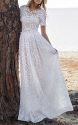 Costarellos Short Sleeve Cotton Lace Gown White